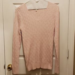 SONOMA PINK AND WHITE MARBLED V-NECK SWEATER